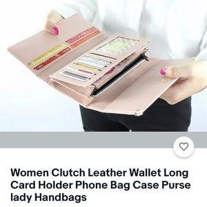 Women clutch leather wallet long card holder